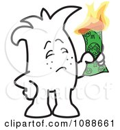 Clipart Squiggle Guy Burning Money Royalty Free Vector Illustration by Toons4Biz