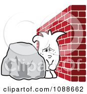 Clipart Squiggle Guy Stuck Between A Rock And A Hard Place Royalty Free Vector Illustration by Toons4Biz