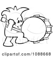 Clipart Squiggle Guy Stuck Beating The Drum Royalty Free Vector Illustration by Toons4Biz