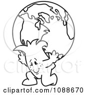 Clipart Squiggle Guy Atlas Carrying A Globe Royalty Free Vector Illustration by Toons4Biz