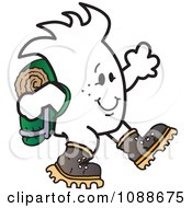 Clipart Squiggle Guy Hiking Royalty Free Vector Illustration by Toons4Biz