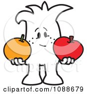 Clipart Squiggle Guy Comparing Apples To Oranges Royalty Free Vector Illustration by Toons4Biz