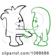 Clipart Squiggle Guys Shaking Hands Royalty Free Vector Illustration by Toons4Biz