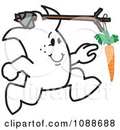 Clipart Squiggle Guy Chasing A Dangling Carrot Attached To His Head Royalty Free Vector Illustration by Toons4Biz