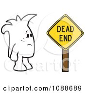 Clipart Squiggle Guy By A Dead End Sign Royalty Free Vector Illustration by Toons4Biz