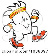 Clipart Squiggle Guy Jogging Royalty Free Vector Illustration