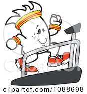 Clipart Squiggle Guy Running On A Treadmill Royalty Free Vector Illustration
