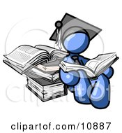 Blue Male Student In A Graduation Cap Reading A Book And Leaning Against A Stack Of Books Clipart Illustration