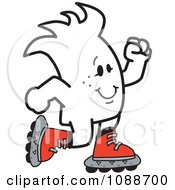 Clipart Squiggle Guy Roller Blading Royalty Free Vector Illustration by Toons4Biz