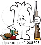 Clipart Squiggle Guy Duck Hunting Royalty Free Vector Illustration