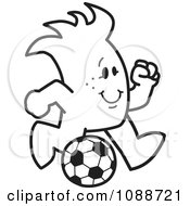 Clipart Squiggle Guy Playing Soccer Royalty Free Vector Illustration by Toons4Biz