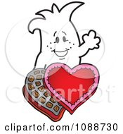 Clipart Squiggle Guy With Valentines Day Candy Royalty Free Vector Illustration