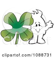 Clipart St Patricks Day Squiggle Guy With A Clover Royalty Free Vector Illustration by Toons4Biz