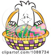 Clipart Squiggle Guy In An Easter Egg Basket Royalty Free Vector Illustration by Toons4Biz
