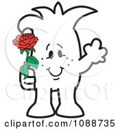 Clipart Squiggle Guy Giving A Rose Royalty Free Vector Illustration