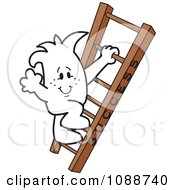 Clipart Squiggle Guy Climbing The Ladder To Success Royalty Free Vector Illustration by Toons4Biz