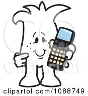 Clipart Squiggle Guy Holding A Phone Royalty Free Vector Illustration by Toons4Biz