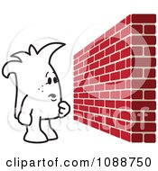 Clipart Squiggle Guy Facing A Brick Wall Obstacle Royalty Free Vector Illustration by Toons4Biz