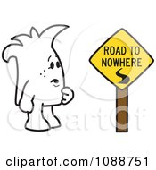 Clipart Squiggle Guy By A Road To Nowhere Sign Royalty Free Vector Illustration by Toons4Biz
