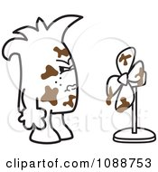 Clipart Squiggle Guy Soldier With Shit Hitting The Fan Royalty Free Vector Illustration by Toons4Biz