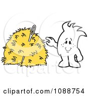 Clipart Squiggle Guy Finding A Needle In A Hay Stack Royalty Free Vector Illustration by Toons4Biz