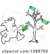Clipart Squiggle Guy Grabbing Cash From A Money Tree Royalty Free Vector Illustration