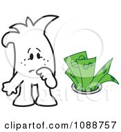 Clipart Squiggle Guy Watching Money Going Down The Drain Royalty Free Vector Illustration