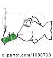 Clipartsquiggle Hook Fishing For Money - Royalty Free Vector Illustration