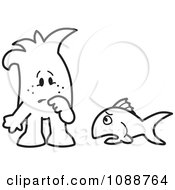 Clipart Squiggle Guy Watching A Fish Out Of Water Royalty Free Vector Illustration by Toons4Biz