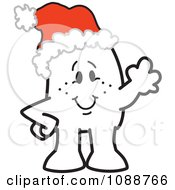 Clipart Christmas Squiggle Guy Waving And Wearing A Santa Hat Royalty Free Vector Illustration by Toons4Biz