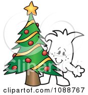 Clipart Christmas Squiggle Guy By A Tree Royalty Free Vector Illustration by Toons4Biz