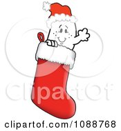 Clipart Christmas Squiggle Guy Wearing A Santa Hat In A Stocking Royalty Free Vector Illustration by Toons4Biz