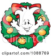 Clipart Christmas Squiggle Guy In A Wreath Royalty Free Vector Illustration by Toons4Biz