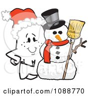 Clipart Christmas Squiggle Guy By A Snowman Royalty Free Vector Illustration by Toons4Biz