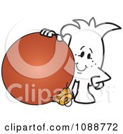 Clipart Squiggle Guy With A Christmas Bauble Royalty Free Vector Illustration by Toons4Biz