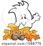 Clipart Squiggle Guy With Autumn Leaves And Acorns Royalty Free Vector Illustration by Toons4Biz