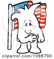 Clipart Squiggle Guy Pledging Allegiance To The American Flag Royalty Free Vector Illustration