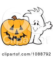 Clipart Squiggle Guy With A Halloween Jackolantern Royalty Free Vector Illustration by Toons4Biz