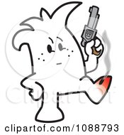 Clipart Squiggle Guy Shooting Himself In The Foot Royalty Free Vector Illustration by Toons4Biz