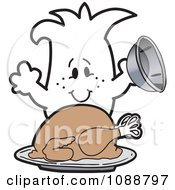 Clipart Squiggle Guy Serving A Thanksgiving Turkey Royalty Free Vector Illustration