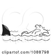 Clipart Squiggle Guy Swimming With Sharks Royalty Free Vector Illustration by Toons4Biz