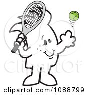 Clipart Squiggle Guy Playing Tennis Royalty Free Vector Illustration by Toons4Biz