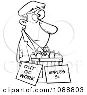 Clipart Outlined Homeless Man Trying To Sell Apples Royalty Free Vector Illustration by toonaday