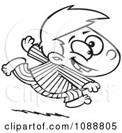Clipart Outlined Excited Boy Running In His Pajamas Royalty Free Vector Illustration