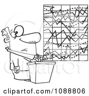 Clipart Outlined Businessman Trying To Explain A Messed Up Chart Royalty Free Vector Illustration