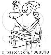 Clipart Outlined Life Long Male Student Raising His Hand In Class Royalty Free Vector Illustration