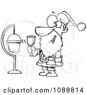Outlined Santa Ringing A Bell By A Donation Cup