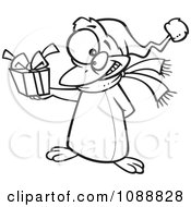 Clipart Outlined Christmas Penguin Giving A Present Royalty Free Vector Illustration by toonaday