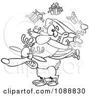 Clipart Outlined Christmas Santa Juggling Gifts On A Reindeer Royalty Free Vector Illustration
