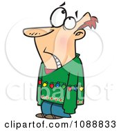 Clipart Embarassed Man Wearing An Ugly Christmas Sweater And Lights Royalty Free Vector Illustration by toonaday